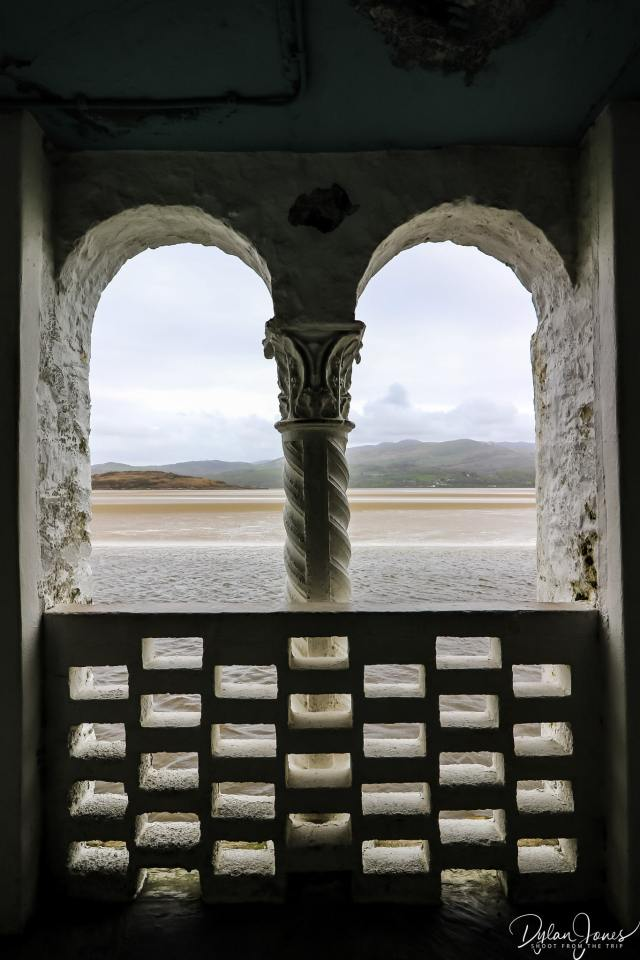 A view through an opening of the dwyryd estuary and mountains beyond