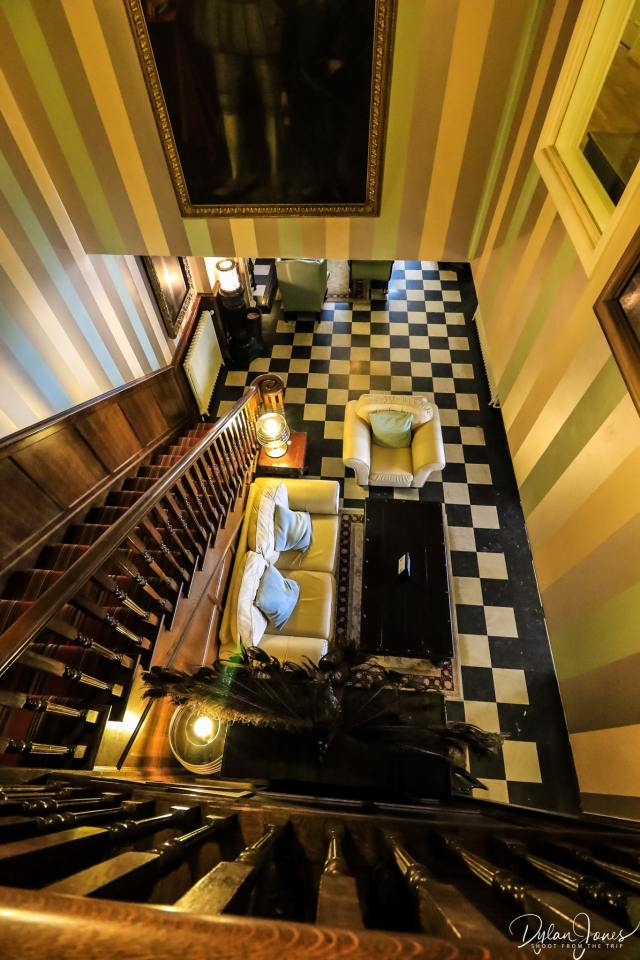 The eighteenth century staircase at the Portmeirion Hotel