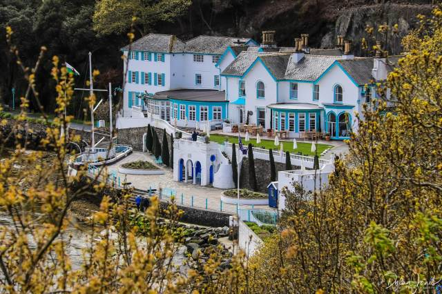 A look at Portmeirion Hotel from a high vantage point in the village