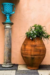 A mediterranean urn with planting at Portmeirion Village