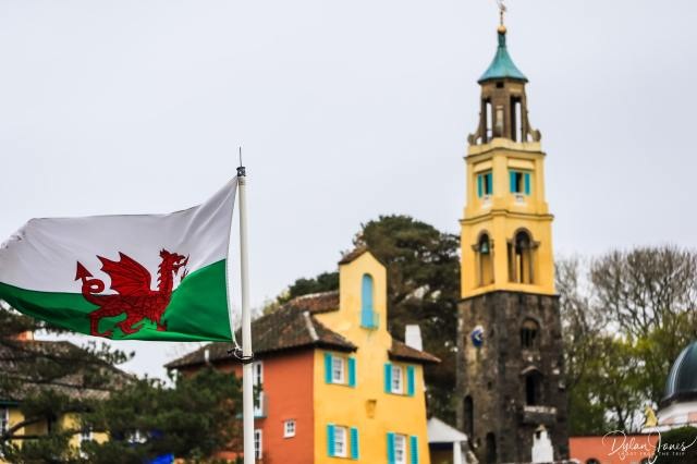 Portmeirion Village with a Welsh flag